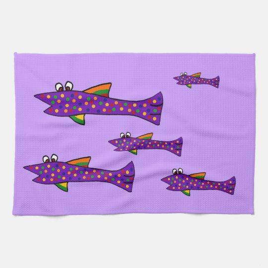 Funky Purple Fish Cartoon Tea Towel