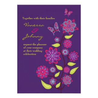 Funky Purple Flowers Wedding Custom Invitation