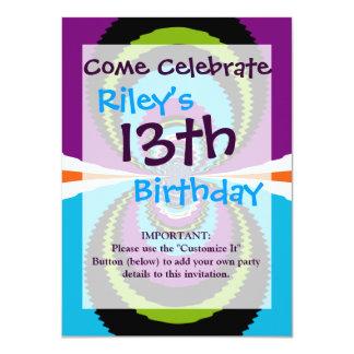 Funky Purple Teal Water Ripples Pattern 11 Cm X 16 Cm Invitation Card