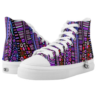 Funky Purple Tribal Pattern High Tops