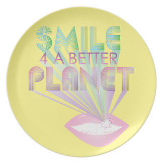 funky quotes smile 4 a planet melamine plate