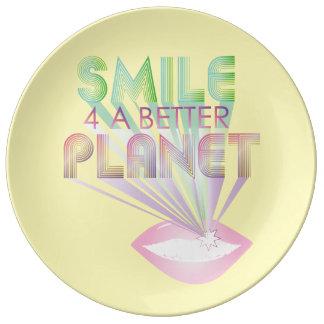 funky quotes smile planet porcelain plate