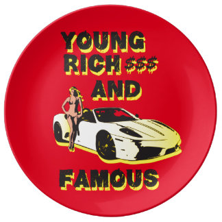 funky quotes young rich decorative porcelain plate
