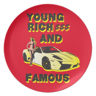 funky quotes young rich & famous melamine plate
