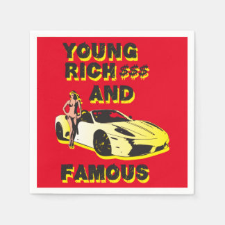 funky quotes young rich & famous paper napkins
