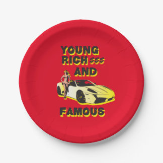 funky quotes young rich & famous paper plates
