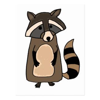 Funky Raccoon Cartoon Postcard