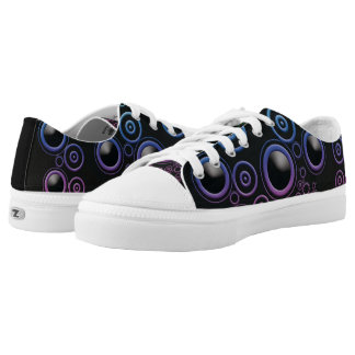 Funky Rainbow Colors Retro Circles on Black Low Tops