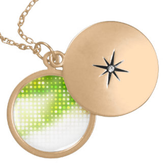 Funky Rainbow Dots Halftone Round Locket Necklace