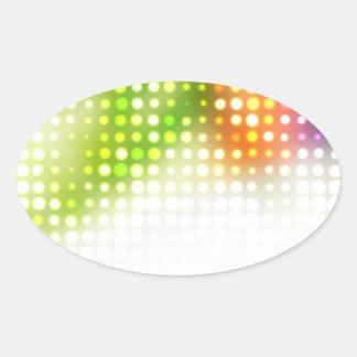 Funky Rainbow Dots Halftone Oval Sticker
