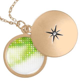 Funky Rainbow Dots Halftone Round Locket Necklace