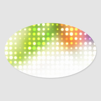 Funky Rainbow Dots Halftone Oval Stickers