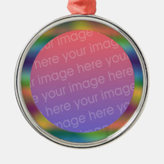 funky rainbow gradient photo frame christmas ornament