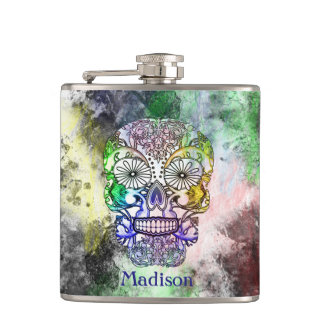 Funky Rainbow Grunge Sugar Skull Personalized Hip Flasks