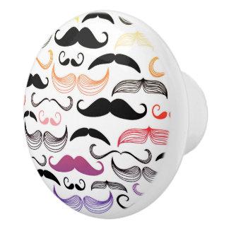 Funky Rainbow Mustache Design Ceramic Knob