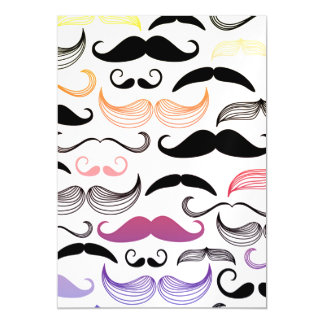 Funky Rainbow Mustache Design Magnetic Invitations