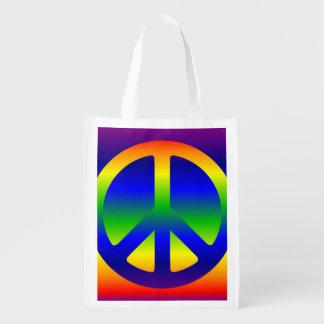 Funky Rainbow Peace Symbol Reusable Grocery Bag