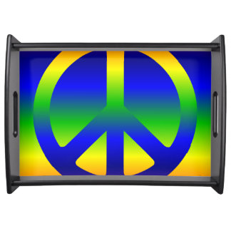 Funky Rainbow Peace Symbol Serving Tray