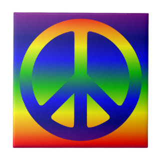 Funky Rainbow Peace Symbol Small Square Tile