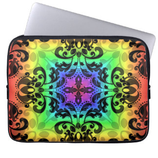 "Funky rainbow square damask 13"" laptop computer sleeve"