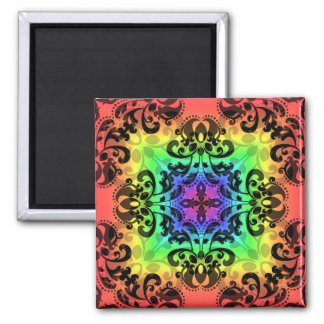Funky rainbow square damask magnet