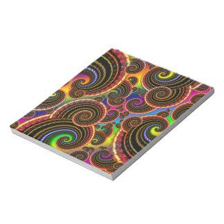 Funky Rainbow Swirl Fractal Art Pattern Notepad