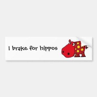 Funky Red and Yellow Hippo Art Bumper Stickers