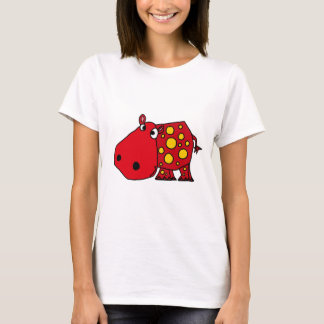 Funky Red and Yellow Hippo Art T-Shirt