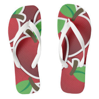 Funky red apple flip flops