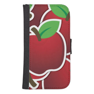 Funky red apples samsung s4 wallet case