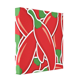 Funky red chilli peppers canvas print