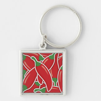 Funky red chilli peppers key ring