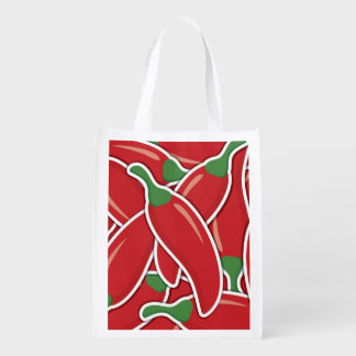 Funky red chilli peppers reusable grocery bag