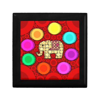 Funky Red Elephant Concentric Circles Mosaic Small Square Gift Box
