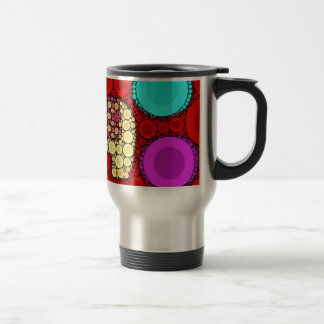 Funky Red Elephant Concentric Circles Mosaic Travel Mug