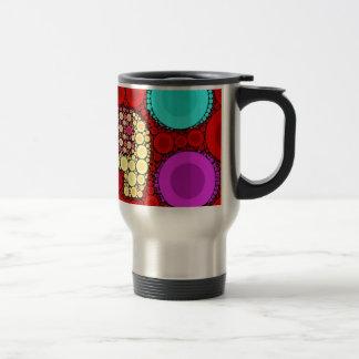 Funky Red Elephant Concentric Circles Mosaic Travel Mug