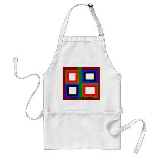 Funky red gold blue black and orange squares standard apron
