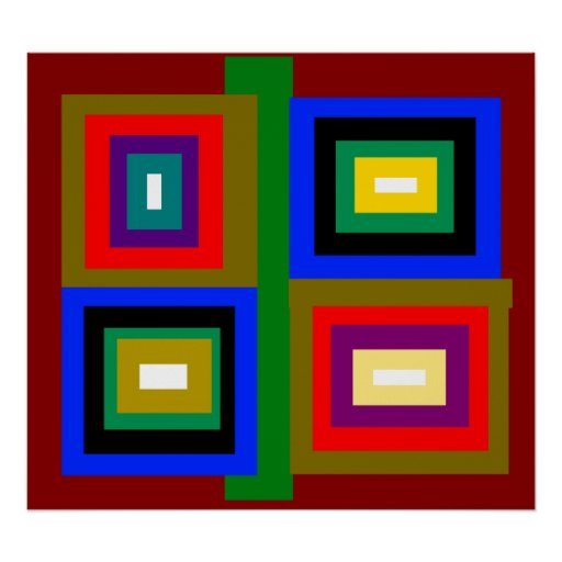 Funky red gold blue black yellow green squares poster