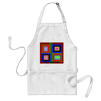 Funky red gold blue squares adult apron