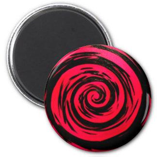 Funky Red Hypnotic Swirl Art 6 Cm Round Magnet