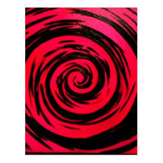 Funky Red Hypnotic Swirl Art Postcard