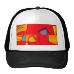Funky red jumble trucker hat