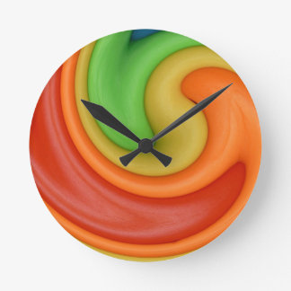 Funky Red Orange Yellow & Green Swirly Round Clock