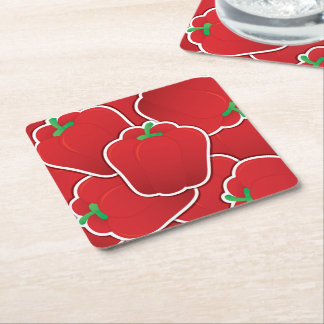 Funky red pepper square paper coaster