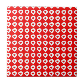 Funky Red & White Hearts Small Square Tile