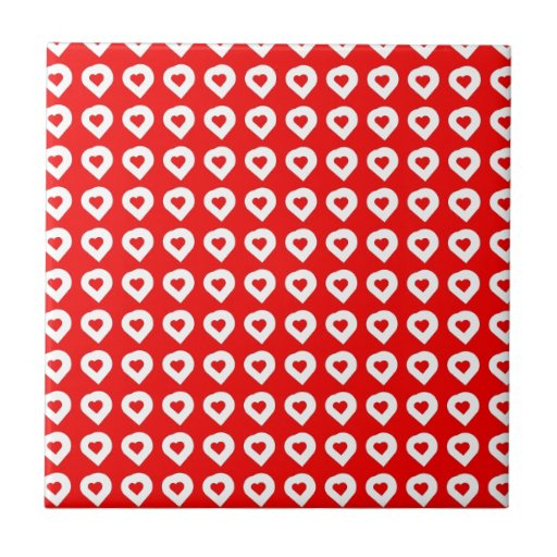 Funky Red & White Hearts Tile