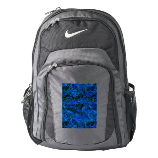 Funky Retro Abstract Charcoal Sapphire Blue Backpack
