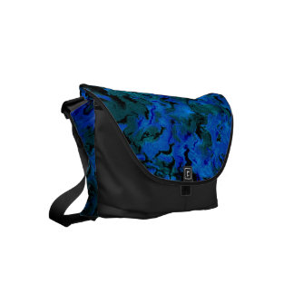 Funky Retro Abstract Charcoal Sapphire Blue Messenger Bags