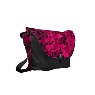 Funky Retro Abstract Magenta Rose Posie Pink Commuter Bags
