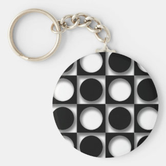 Funky Retro Black and White Circle Design Keychain